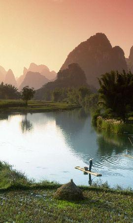 72857 Заставки и Обои Поля на телефон. Скачать Природа, Вьетнам, Посевы, Поля, Рыбаки, Лодки, Туман, Утро картинки бесплатно