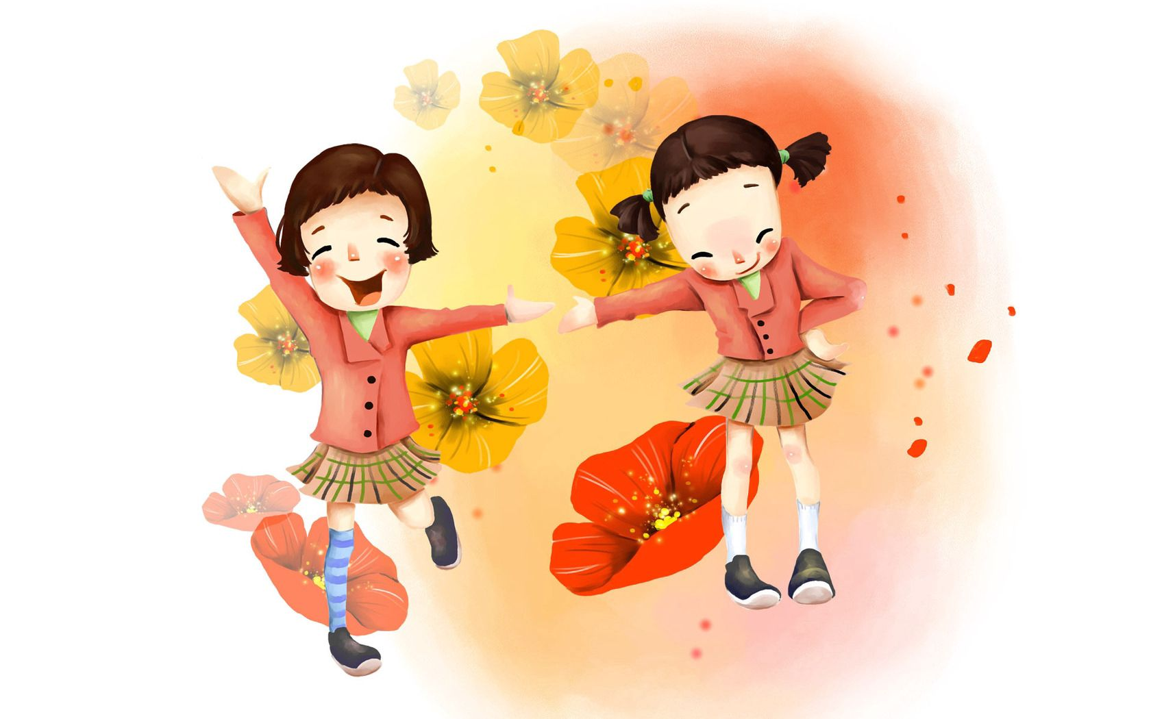 124608 download wallpaper Miscellanea, Miscellaneous, Picture, Drawing, Girls, Joy, Laugh, Laughter, Skirts, Flowers screensavers and pictures for free