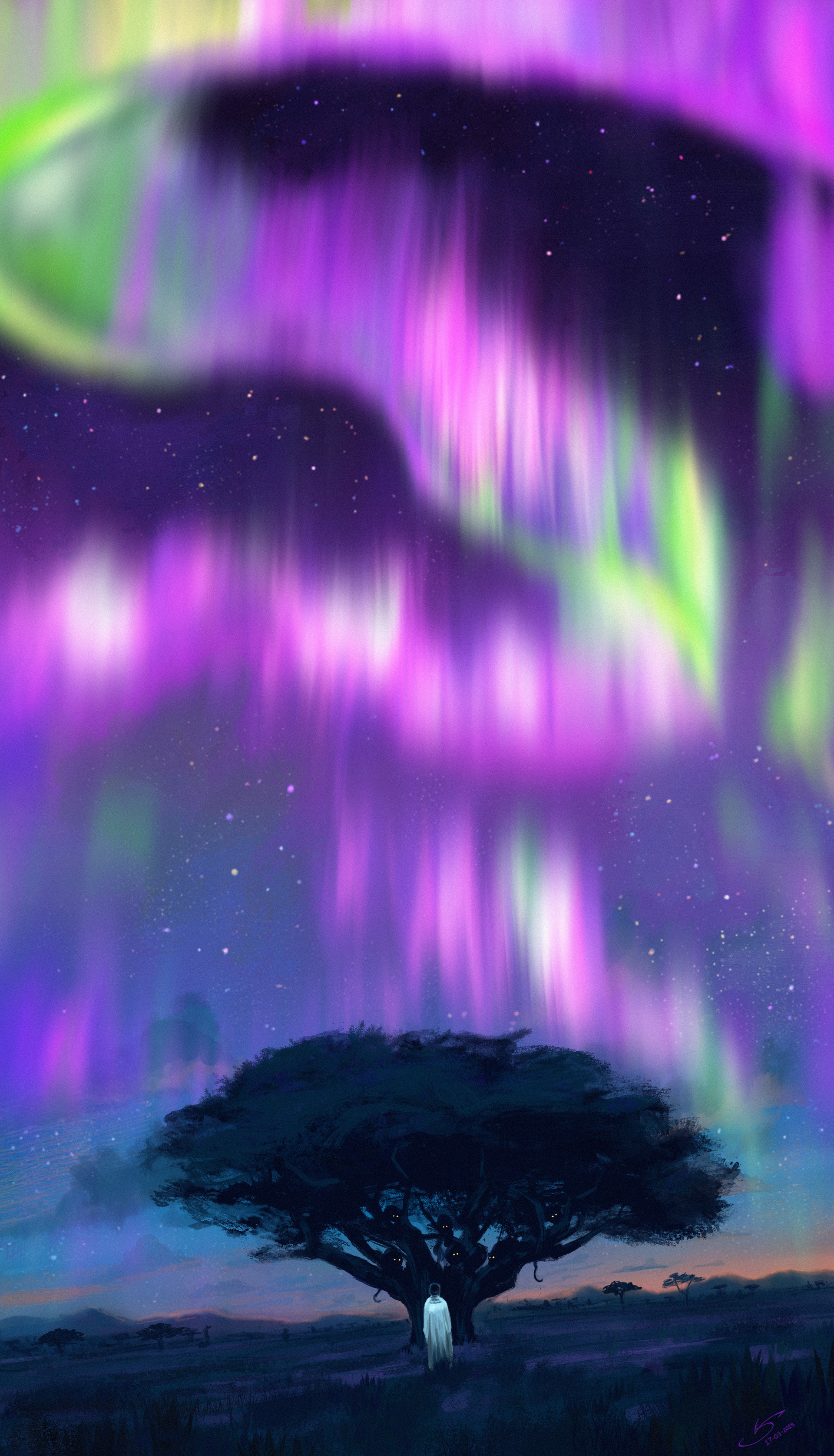 115104 free wallpaper 320x480 for phone, download images Northern Lights, Art, Night, Dark, Silhouette, Wood, Tree, Aurora Borealis 320x480 for mobile