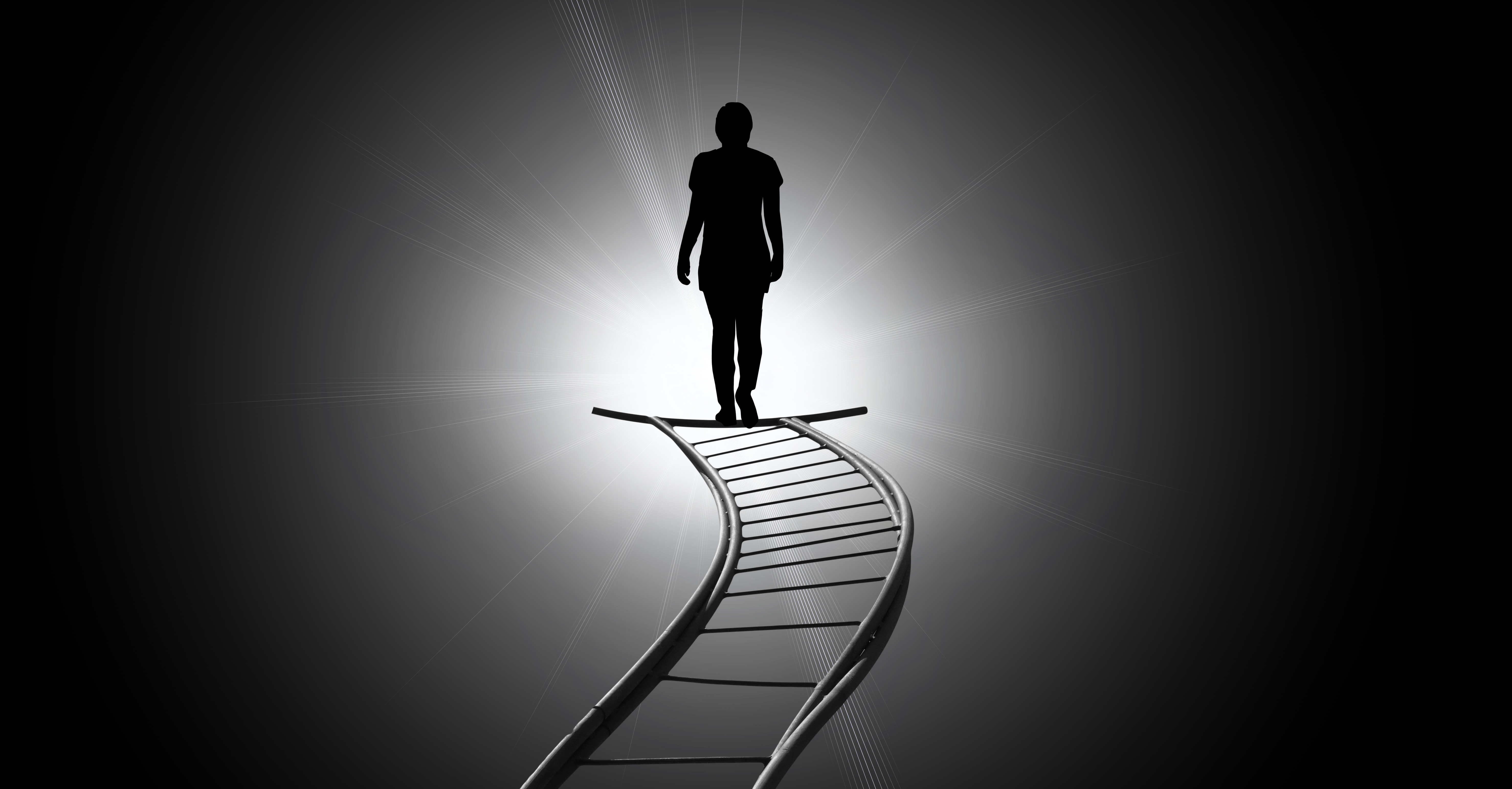 65495 download wallpaper Art, Silhouette, Bw, Chb, Stairs, Ladder, Mysterious screensavers and pictures for free