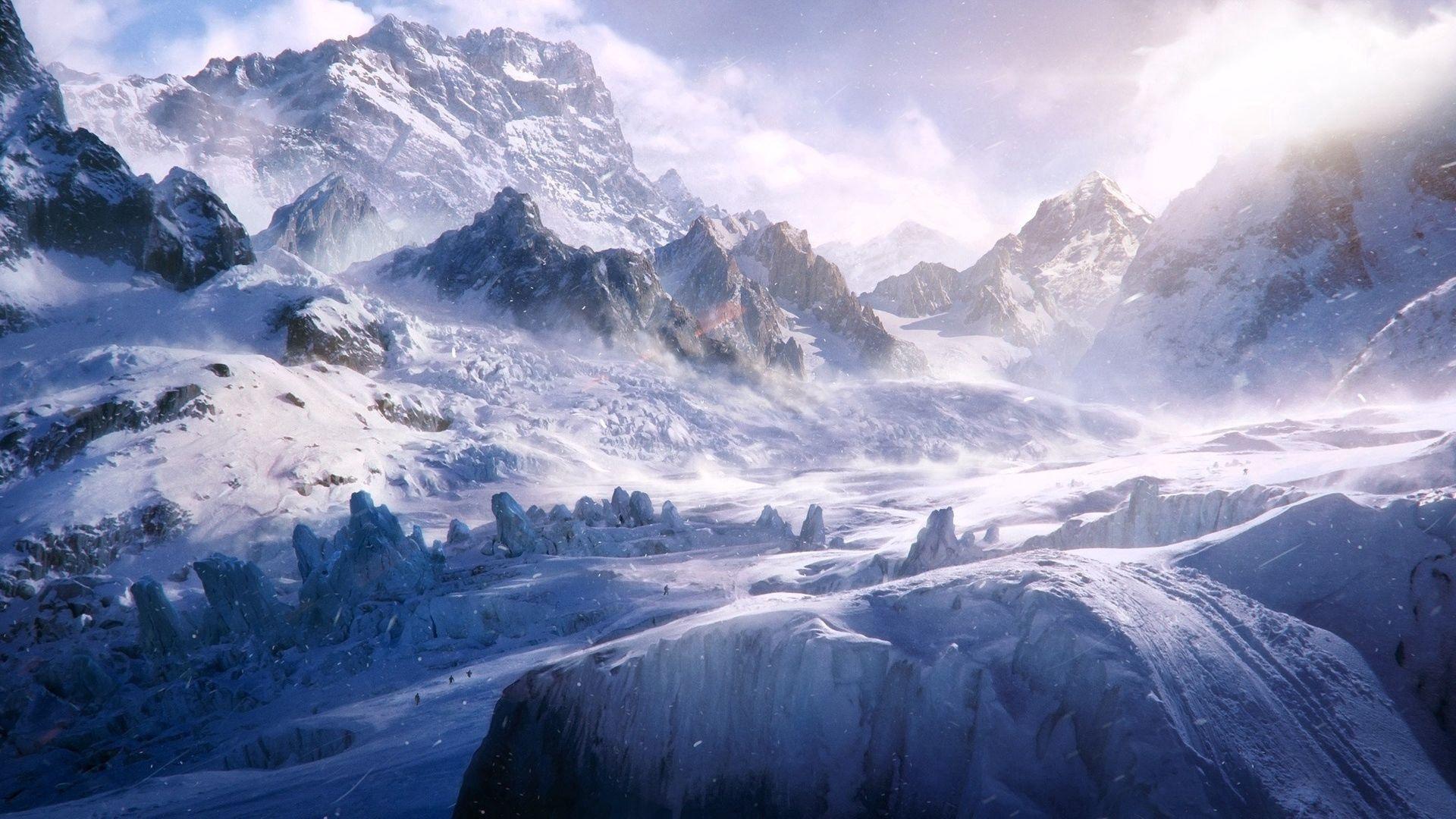 92855 скачать обои Природа, Вершины, Снежные, Холод, Метель, Ветер, Горы - заставки и картинки бесплатно
