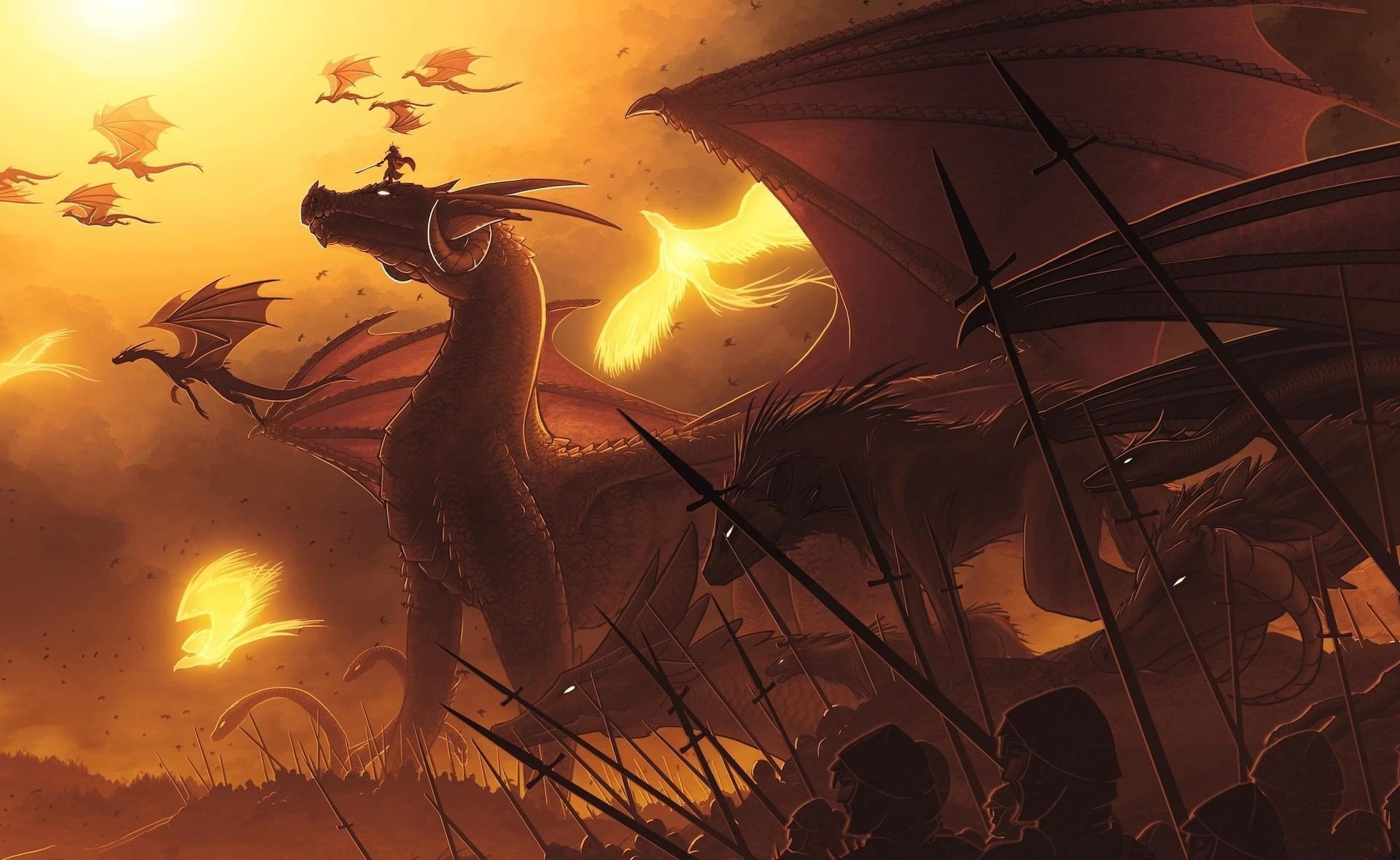 52567 Hintergrundbild herunterladen Menschen, Fantasie, Dragons, Flug, Spears, Speere - Bildschirmschoner und Bilder kostenlos