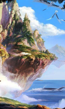 111635 скачать обои Фэнтези, Острова, Море, Небо, Водопад, Деревья - заставки и картинки бесплатно