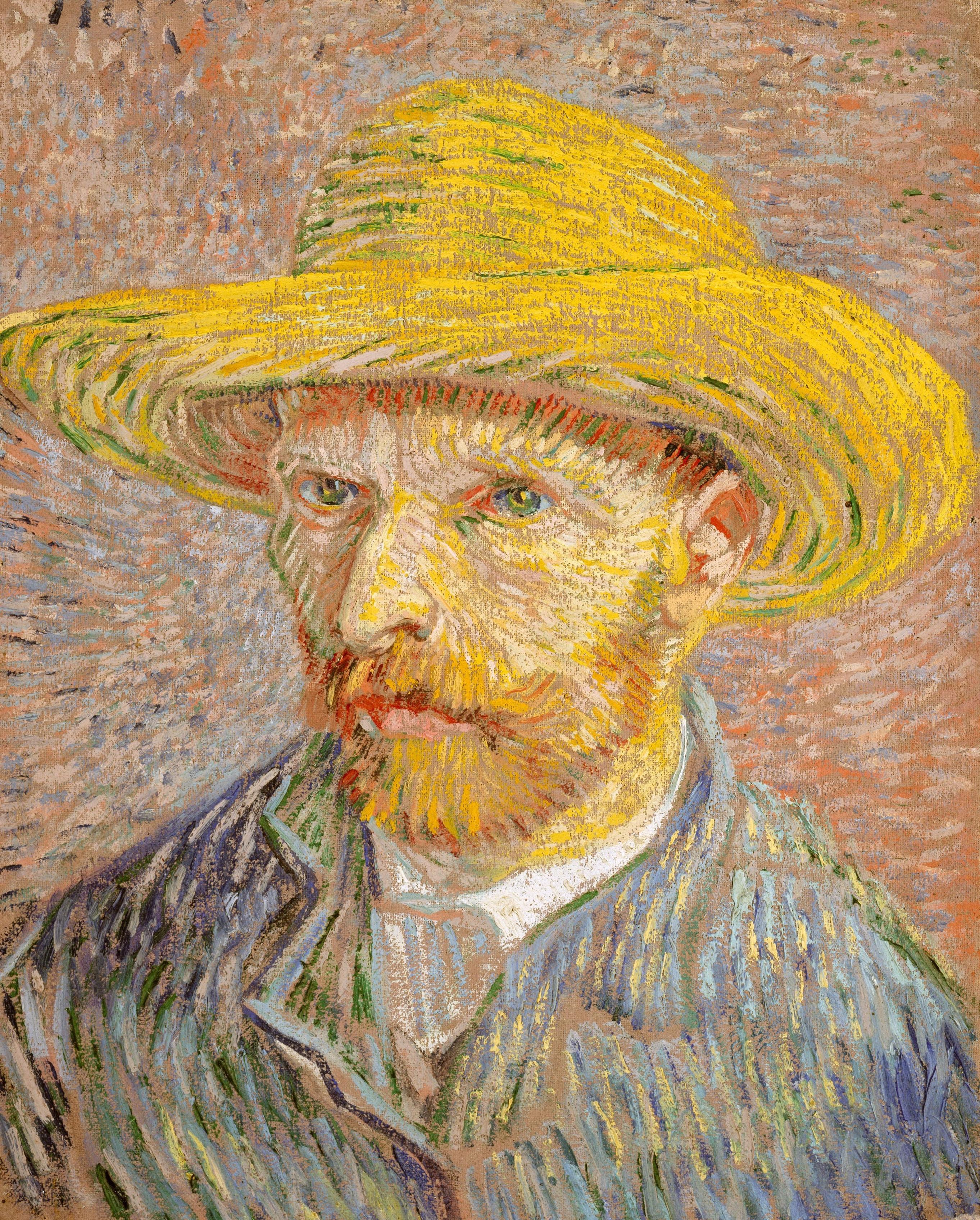 102696 Hintergrundbild 240x400 kostenlos auf deinem Handy, lade Bilder Kunst, Künstler, Porträt, Vincent Van Gogh, Selbstporträt Mit Strohhut, Selbstporträt Im Strohhut 240x400 auf dein Handy herunter