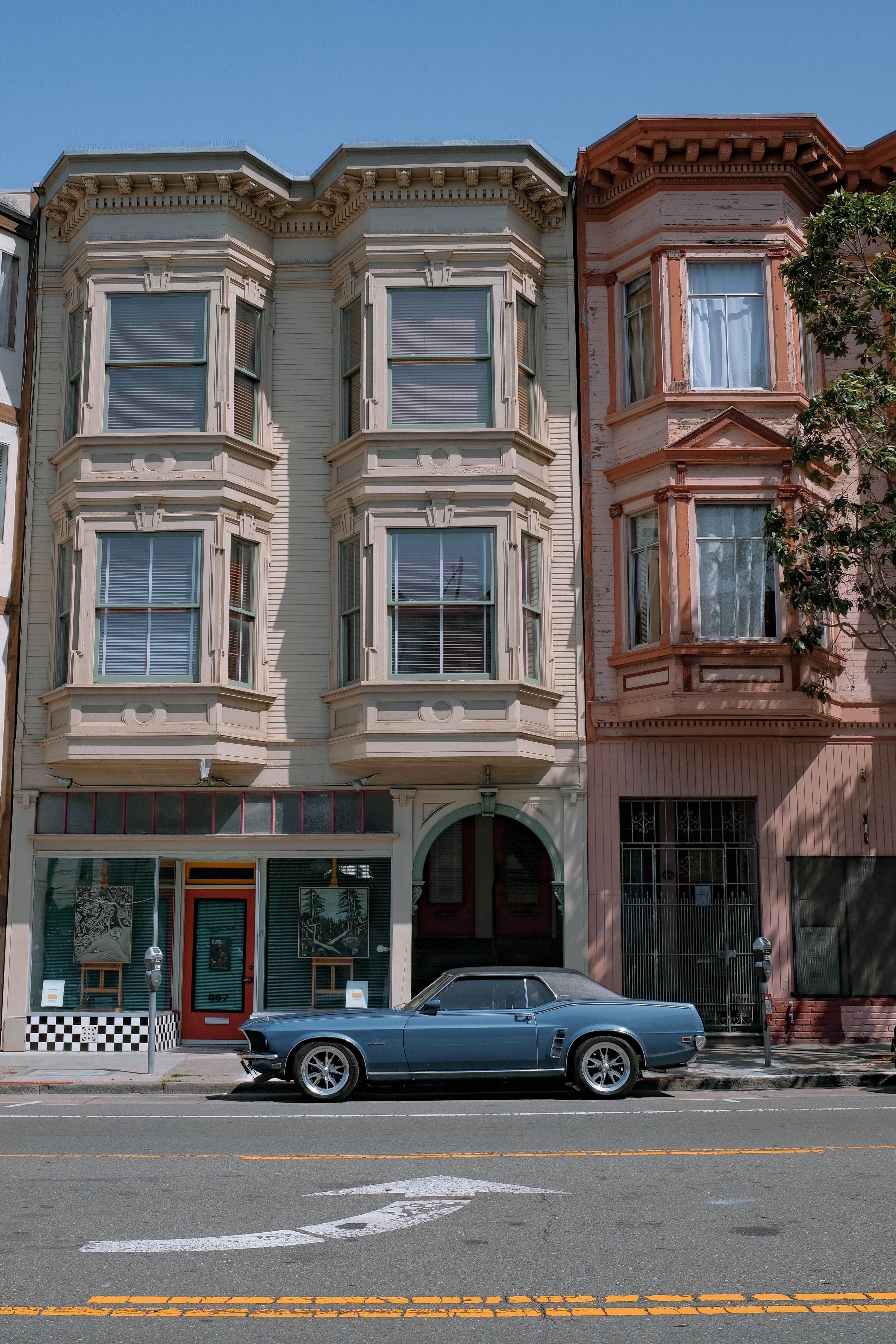 55777 скачать обои Тачки (Cars), Ford Mustang, Автомобиль, Фасад, Винтаж, Городской - заставки и картинки бесплатно