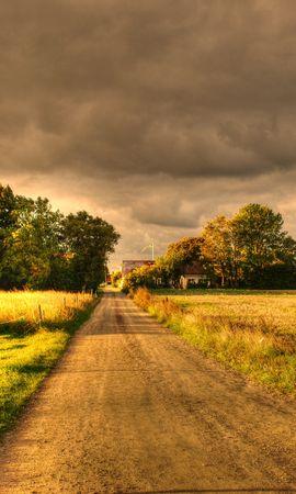 101054 скачать обои Природа, Осень, Поля, Дорога, Пейзаж - заставки и картинки бесплатно