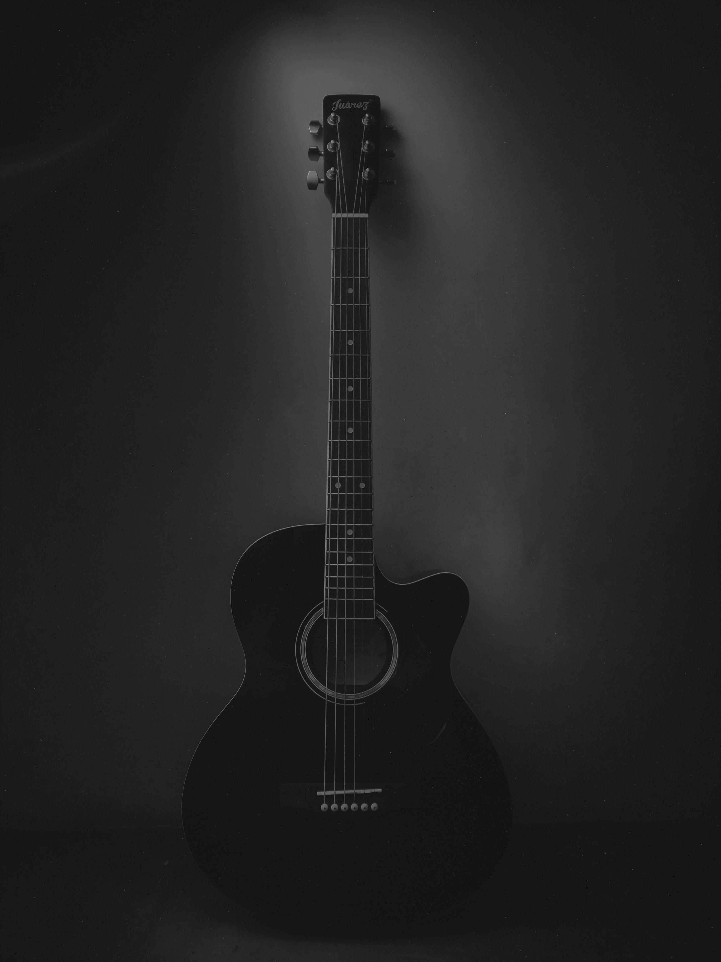 94421 скачать обои Музыка, Темный, Черный, Гитара, Музыкальный Инструмент, Акустическая Гитара - заставки и картинки бесплатно