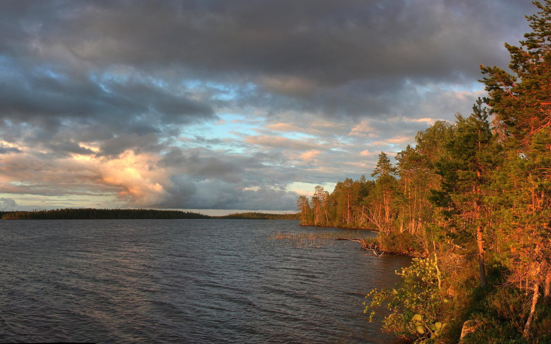 Скачать картинку Облака, Озера, Пейзаж, Деревья в телефон бесплатно.