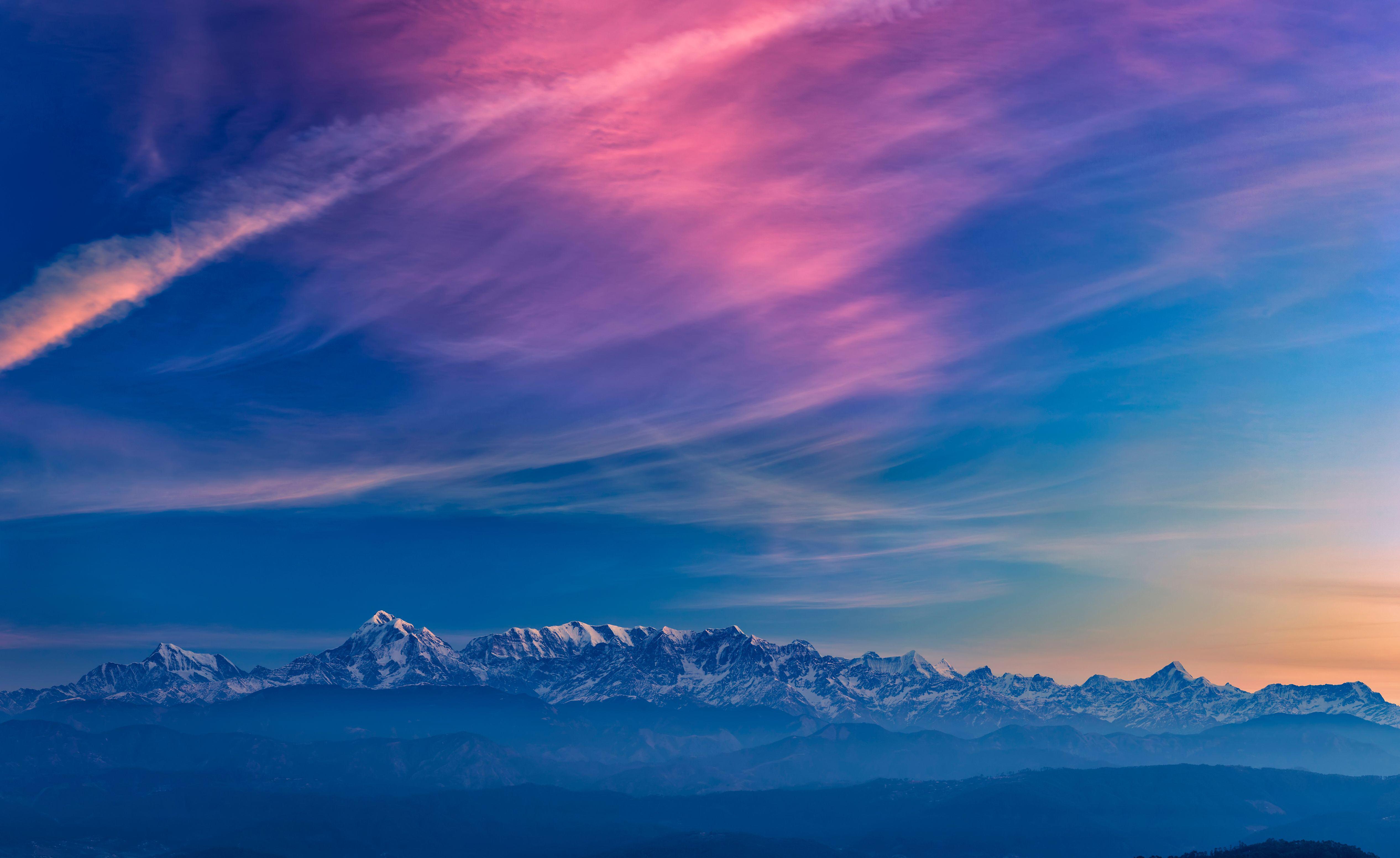 94589 скачать обои Облака, Пейзаж, Закат, Горы, Природа, Туман - заставки и картинки бесплатно
