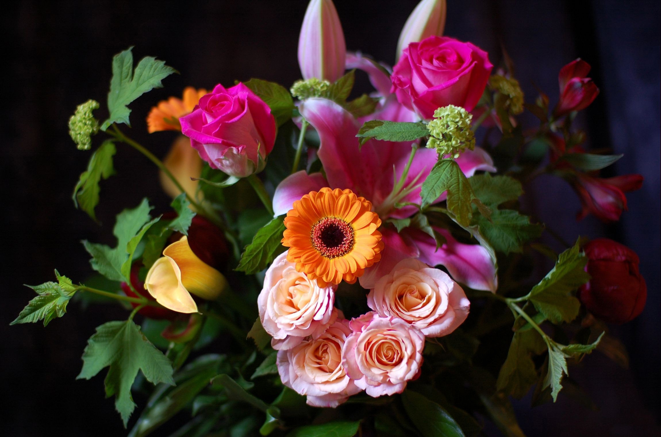 148273 download wallpaper Flowers, Miscellanea, Miscellaneous, Bouquet, Black Background screensavers and pictures for free