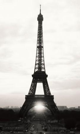 81124 baixar papel de parede Cidades, Paris, Torre Eiffel, França, Bw, Chb, Visualizar, Vista, Visão, Marco - protetores de tela e imagens gratuitamente