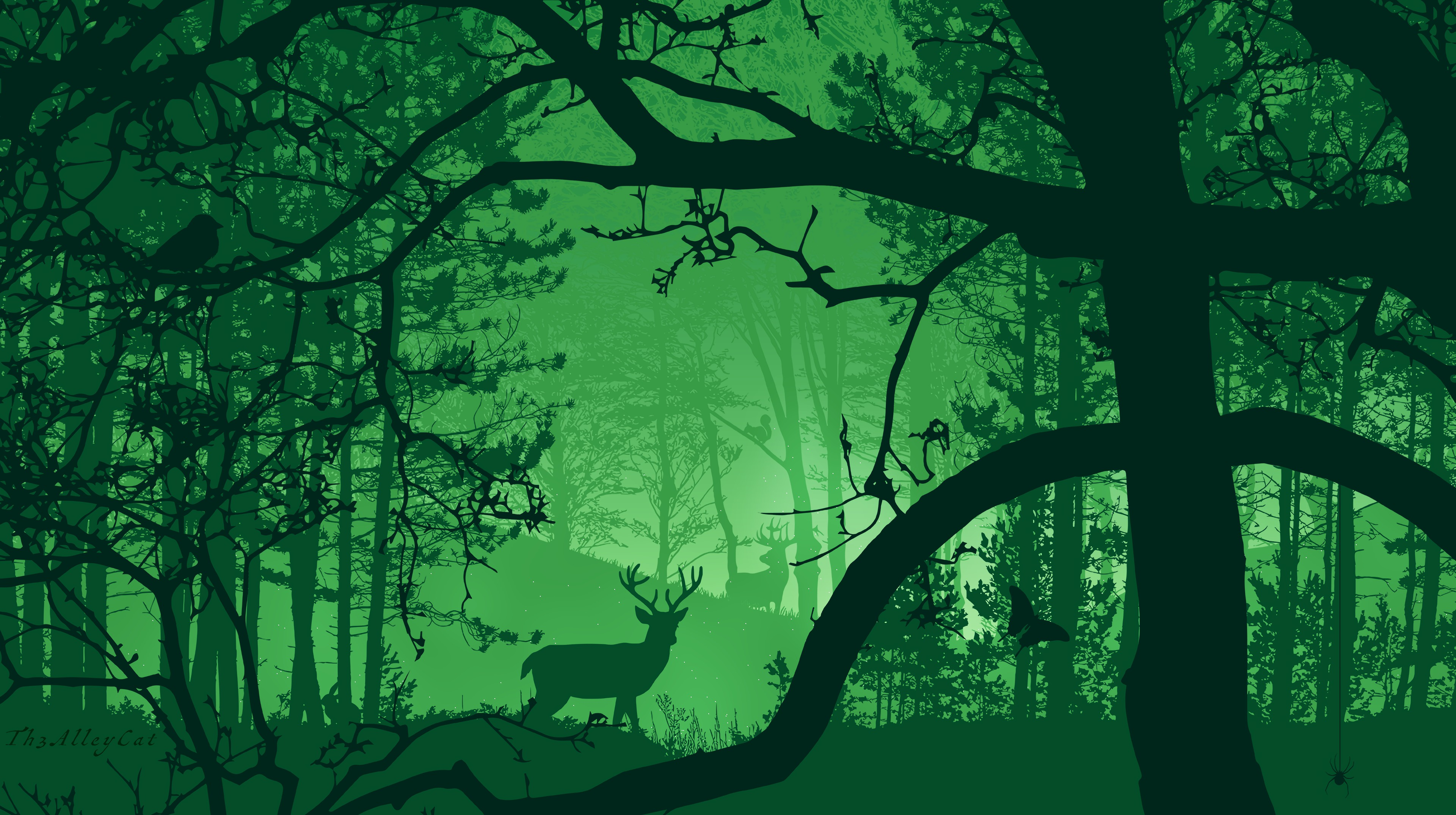 117017 download wallpaper Forest, Deer, Fog, Beasts, Nature, Art screensavers and pictures for free