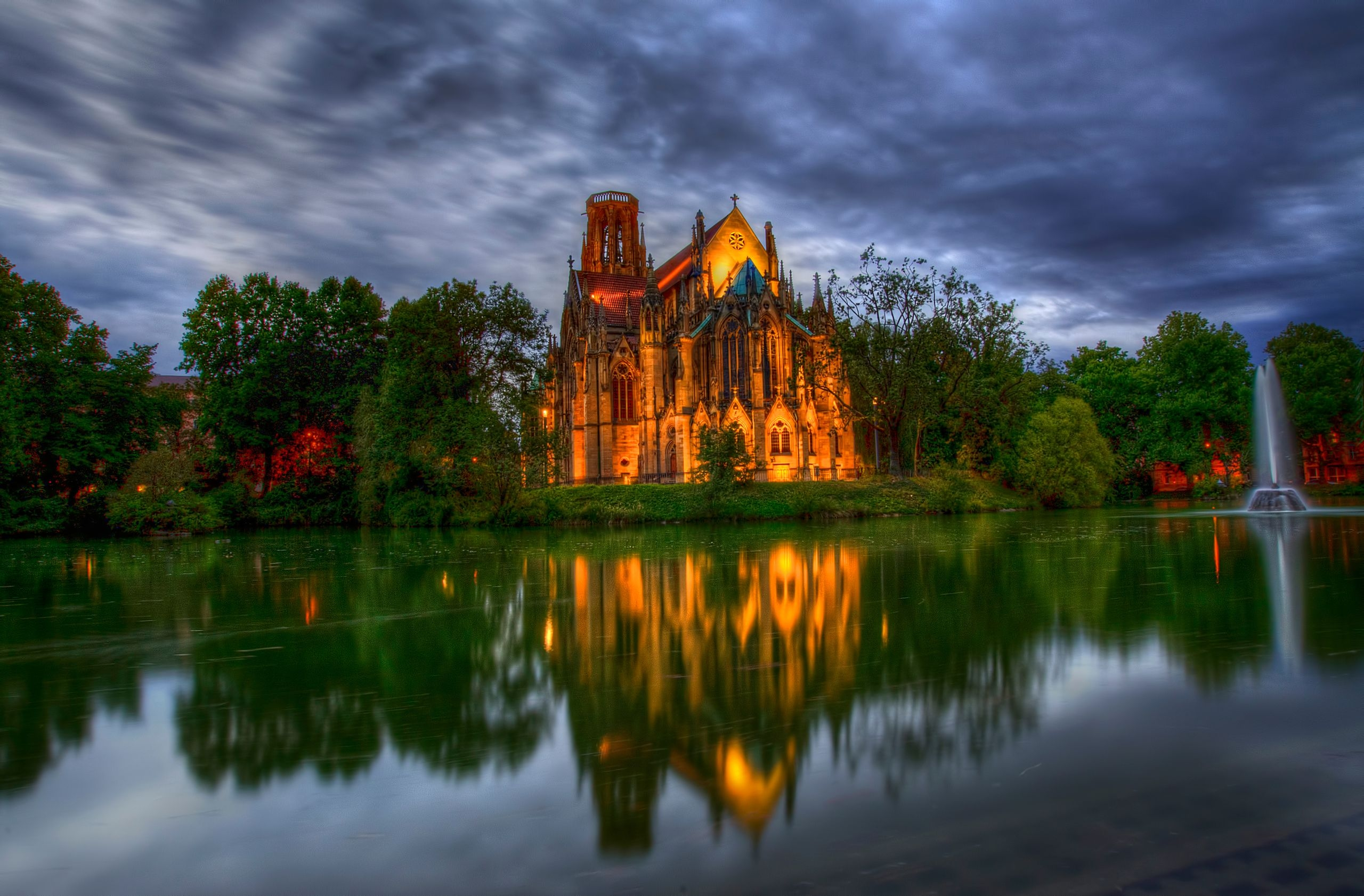 152978 Screensavers and Wallpapers Cities for phone. Download Trees, Cities, Fountain, Park, Pond, Church, Germany, Cathedral pictures for free