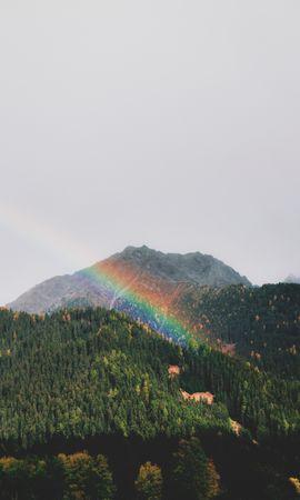 151724 télécharger le fond d'écran Nature, Arc En Ciel, Forêt, Arbres, Montagnes, Paysage - économiseurs d'écran et images gratuitement