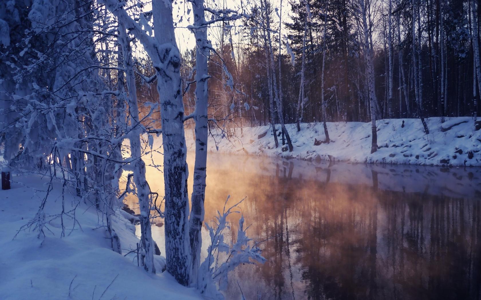 24959 скачать обои Пейзаж, Река, Деревья, Снег - заставки и картинки бесплатно