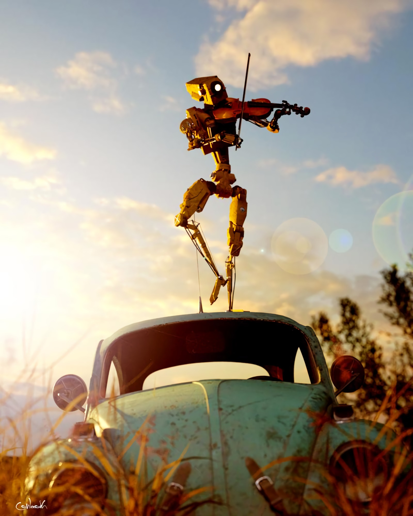 147084 Screensavers and Wallpapers Robot for phone. Download Robot, Art, Car, Machine, Musician, Retro, Violin pictures for free