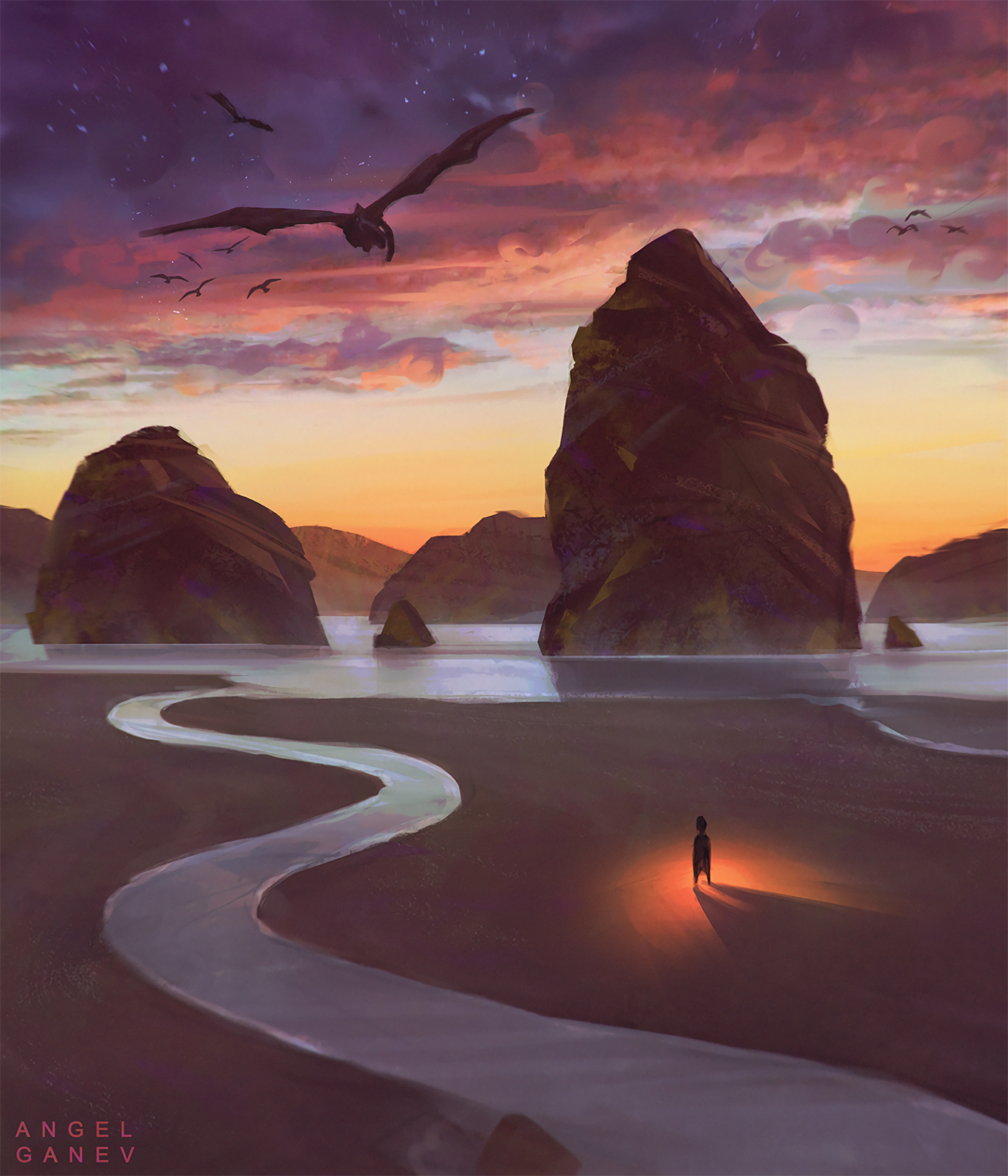 64169 Screensavers and Wallpapers Fiction for phone. Download Dragons, Art, Beach, Rocks, Silhouette, Fiction, That's Incredible pictures for free