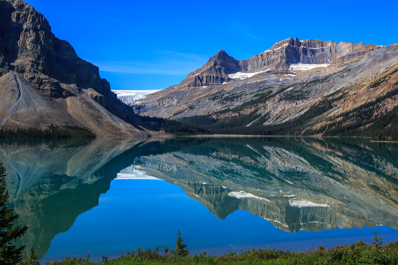 119863 скачать обои Природа, Озеро, Отражение, Снег, Деревья, Горы, Пейзаж - заставки и картинки бесплатно