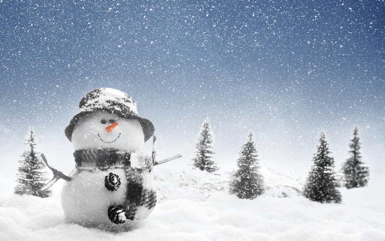 15836 скачать обои Праздники, Зима, Новый Год (New Year), Снег, Снеговики - заставки и картинки бесплатно