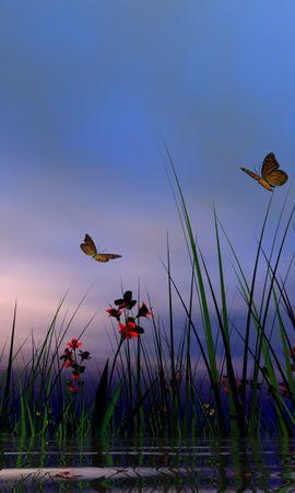 20022 скачать обои Растения, Бабочки, Цветы, Трава, Насекомые - заставки и картинки бесплатно