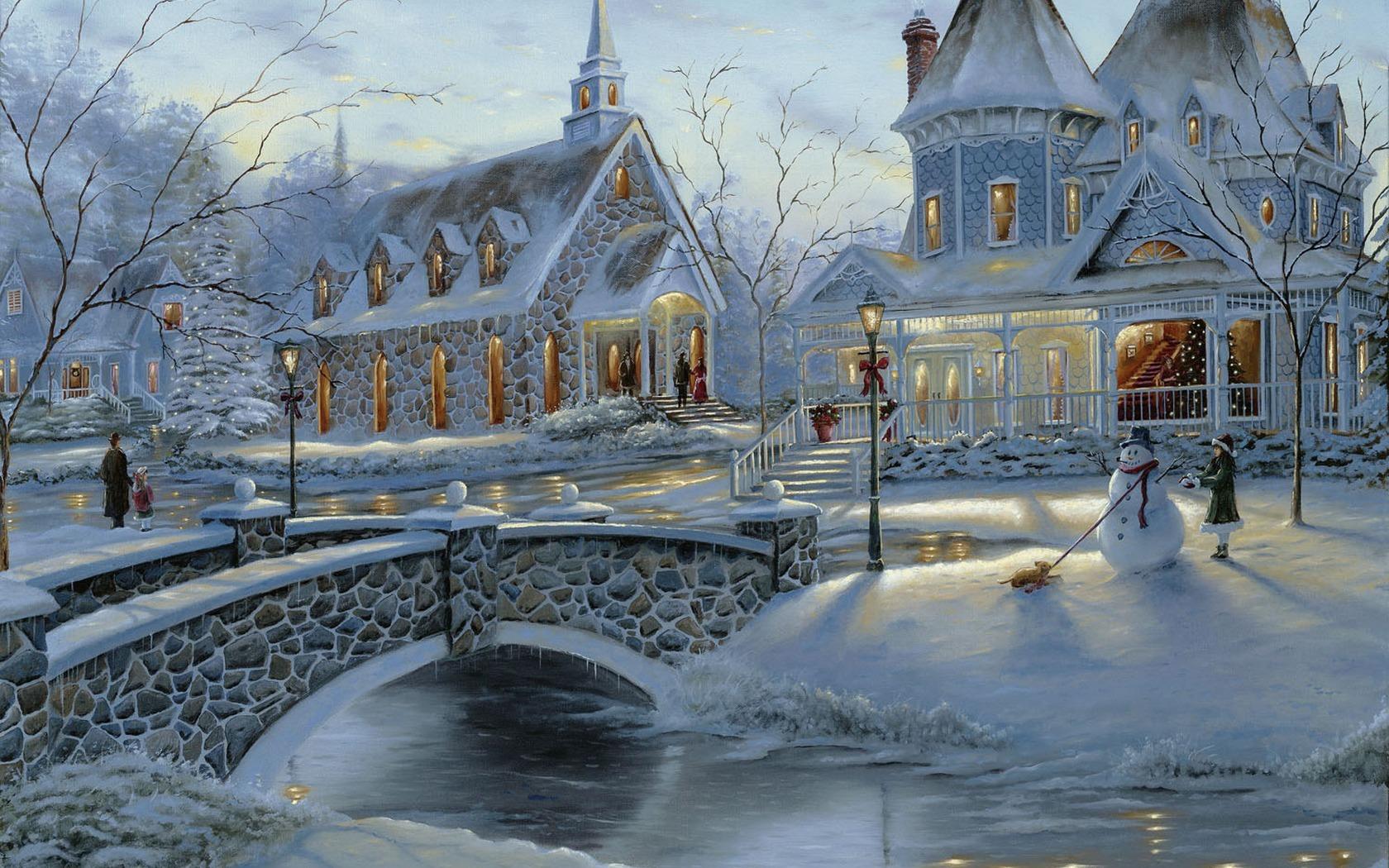 13588 скачать обои Пейзаж, Зима, Дома, Новый Год (New Year), Снег, Рождество (Christmas, Xmas) - заставки и картинки бесплатно