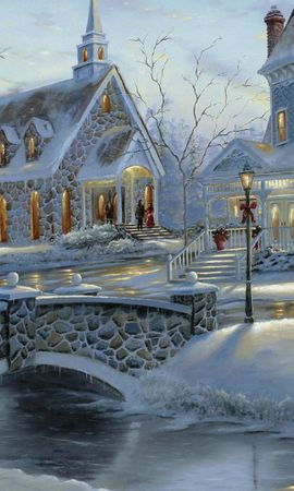 13588 download wallpaper Landscape, Winter, Houses, New Year, Snow, Christmas, Xmas screensavers and pictures for free