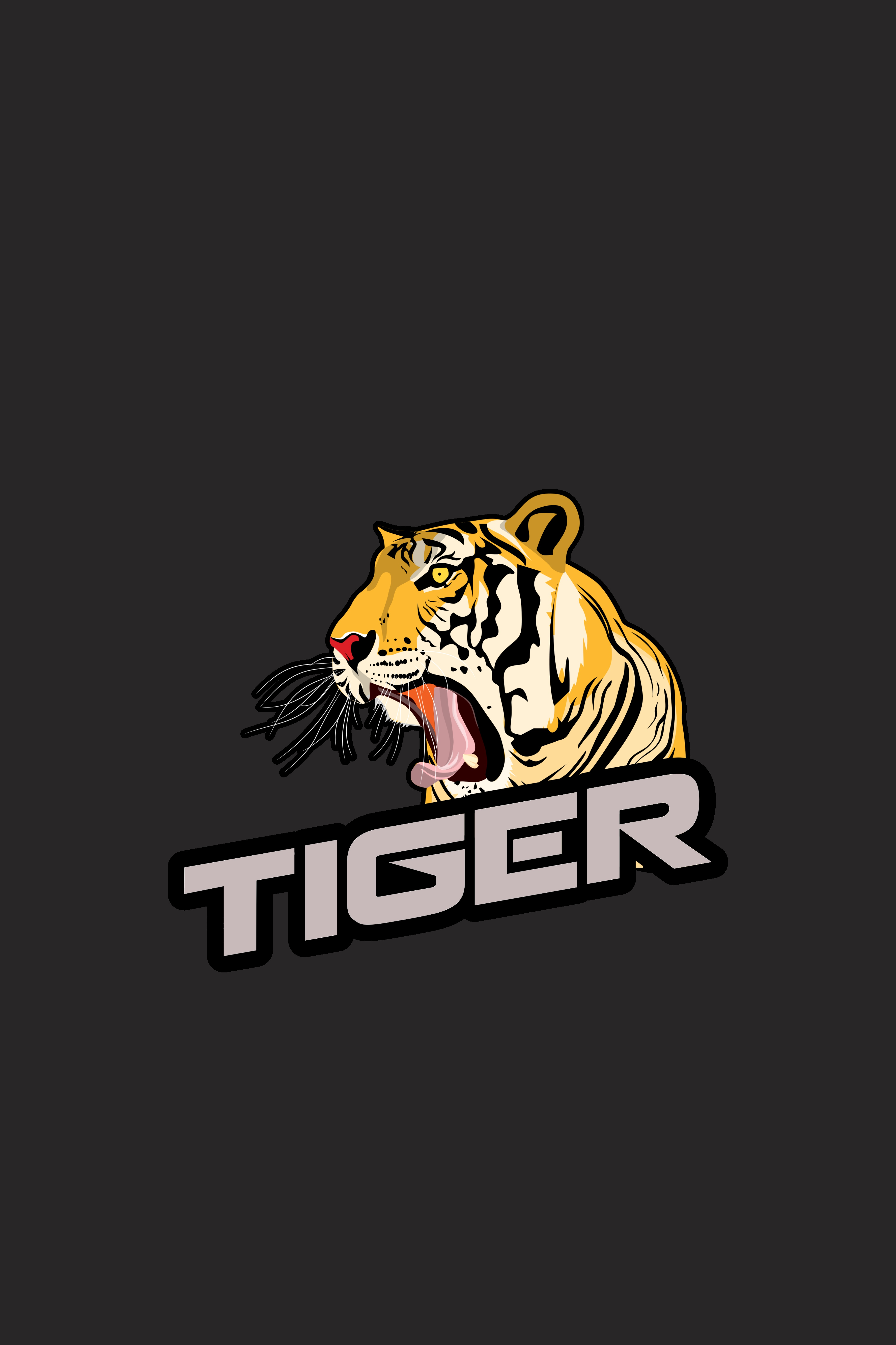 62883 Screensavers and Wallpapers Grin for phone. Download Vector, Grin, Tiger, Inscription pictures for free