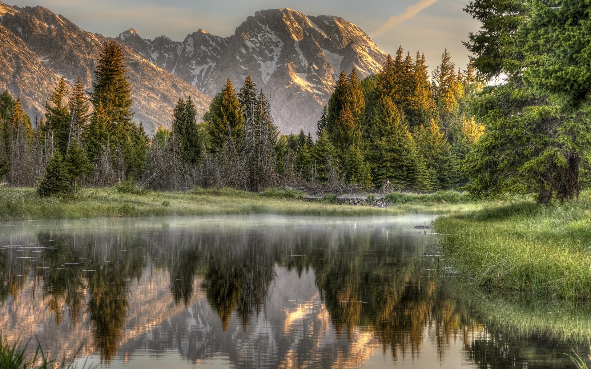 27065 скачать обои Пейзаж, Река, Деревья, Горы - заставки и картинки бесплатно