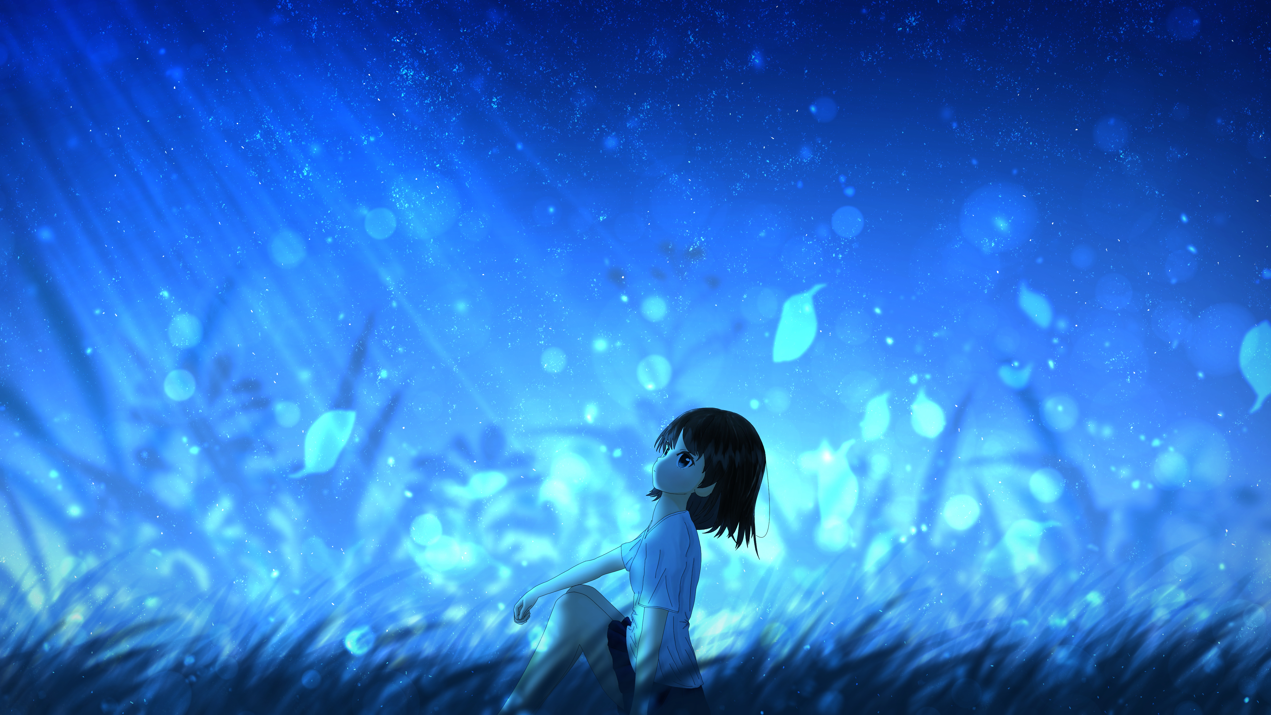 129748 download wallpaper Anime, Girl, Leaves, Wind screensavers and pictures for free