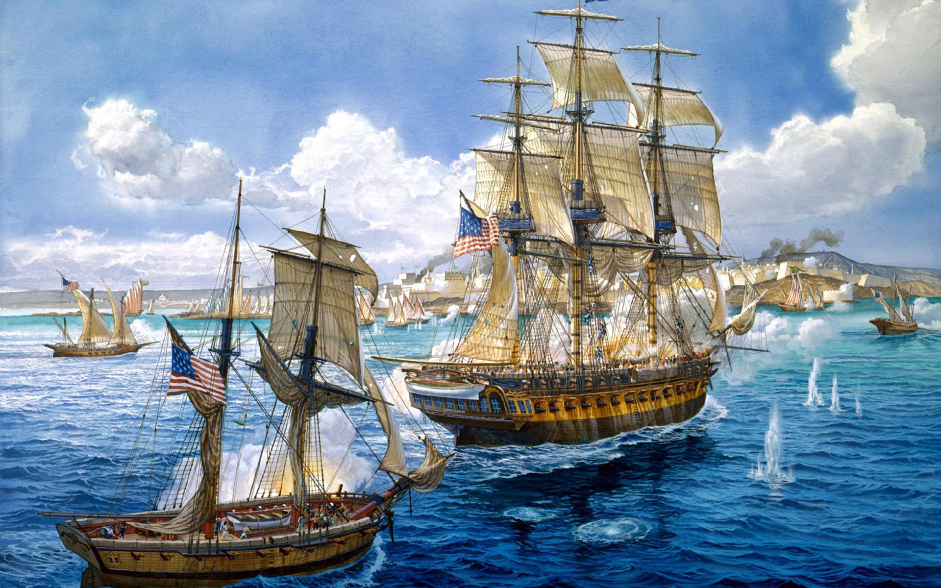 49251 скачать обои Корабли, Море, Рисунки - заставки и картинки бесплатно