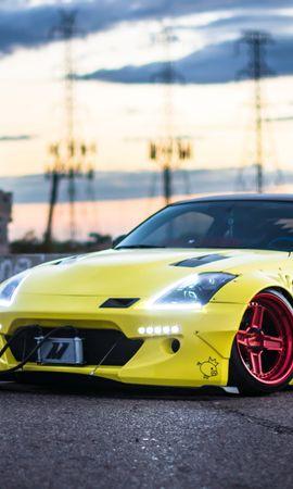 131170 завантажити Жовтий шпалери на телефон безкоштовно, Тачки, Nissan 350Z, Вид Збоку Жовтий картинки і заставки на мобільний