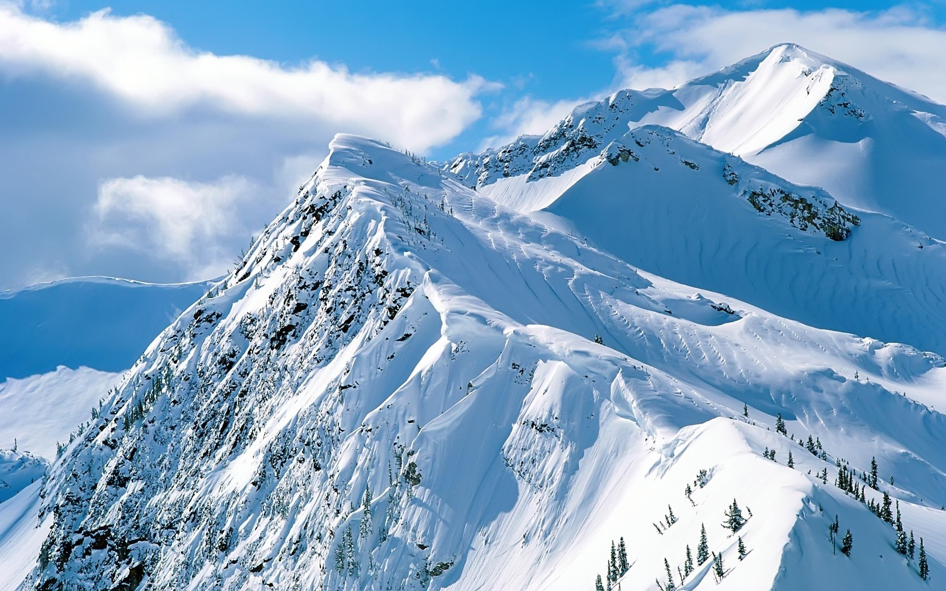 1525 download wallpaper Landscape, Winter, Mountains, Snow screensavers and pictures for free