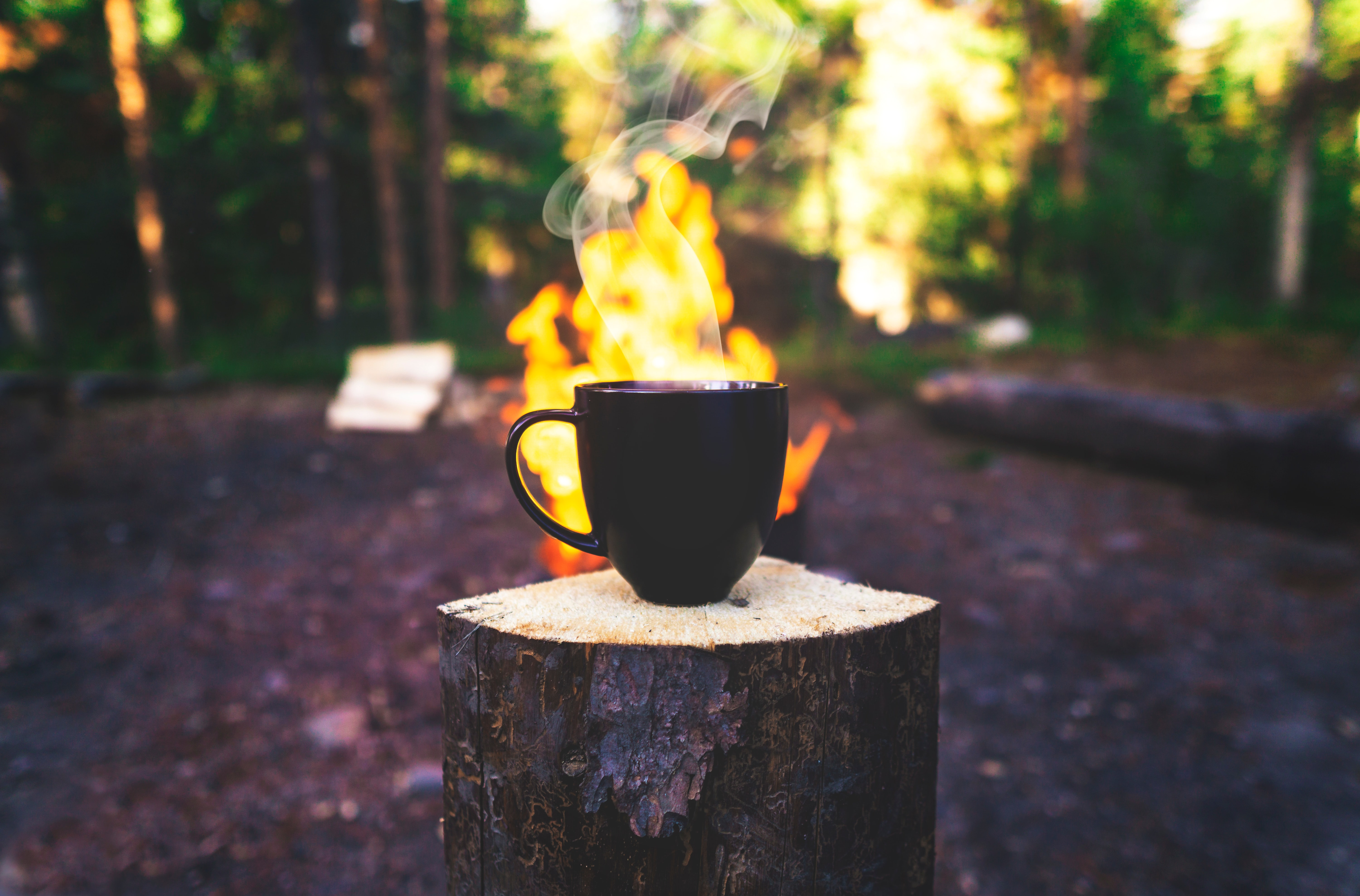 104928 download wallpaper Camping, Bonfire, Miscellanea, Miscellaneous, Cup, Drink, Beverage, Steam, Campsite, Mug screensavers and pictures for free