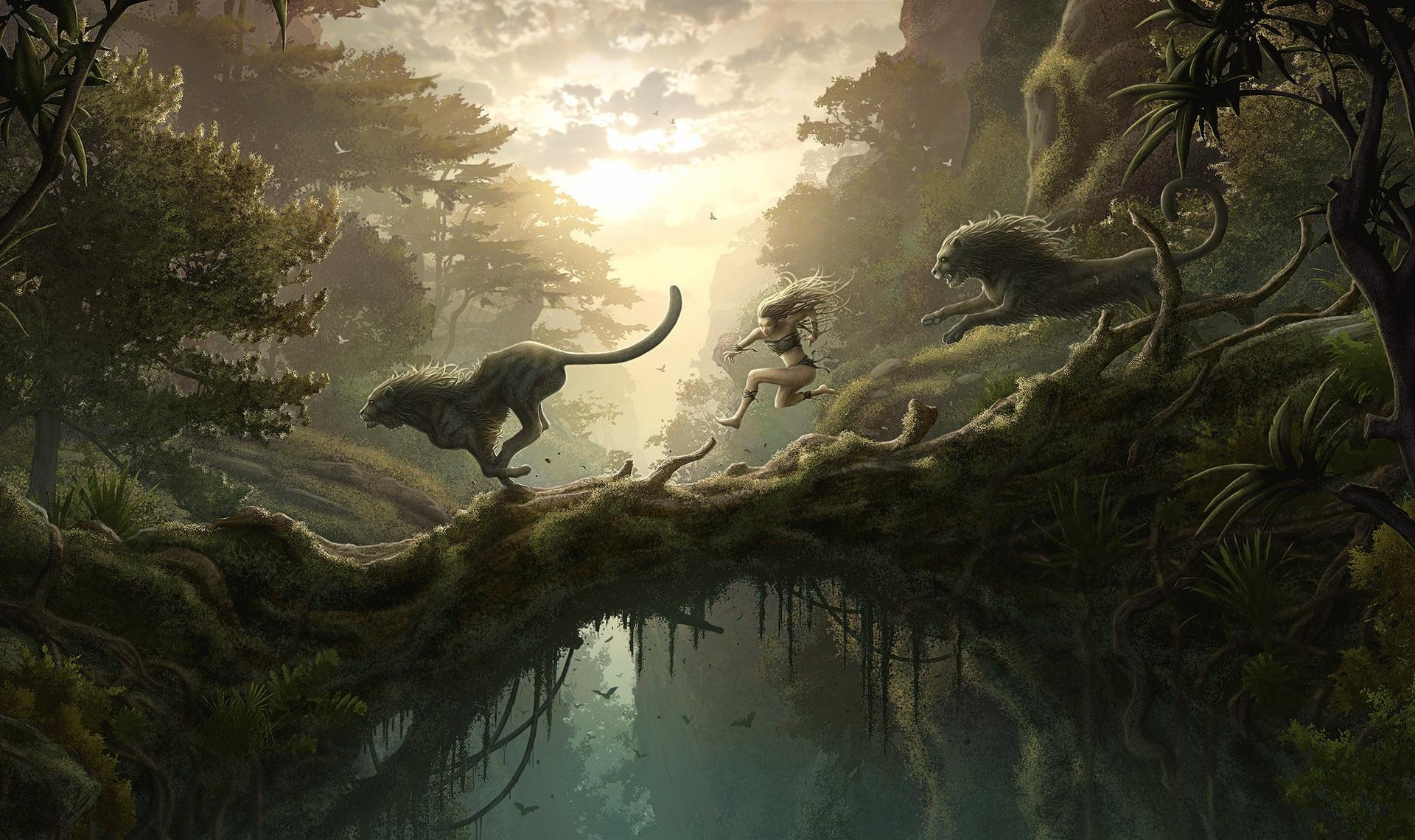 113576 download wallpaper Fantasy, Jungle, Girl, Bounce, Jump, Bridge, Lions screensavers and pictures for free