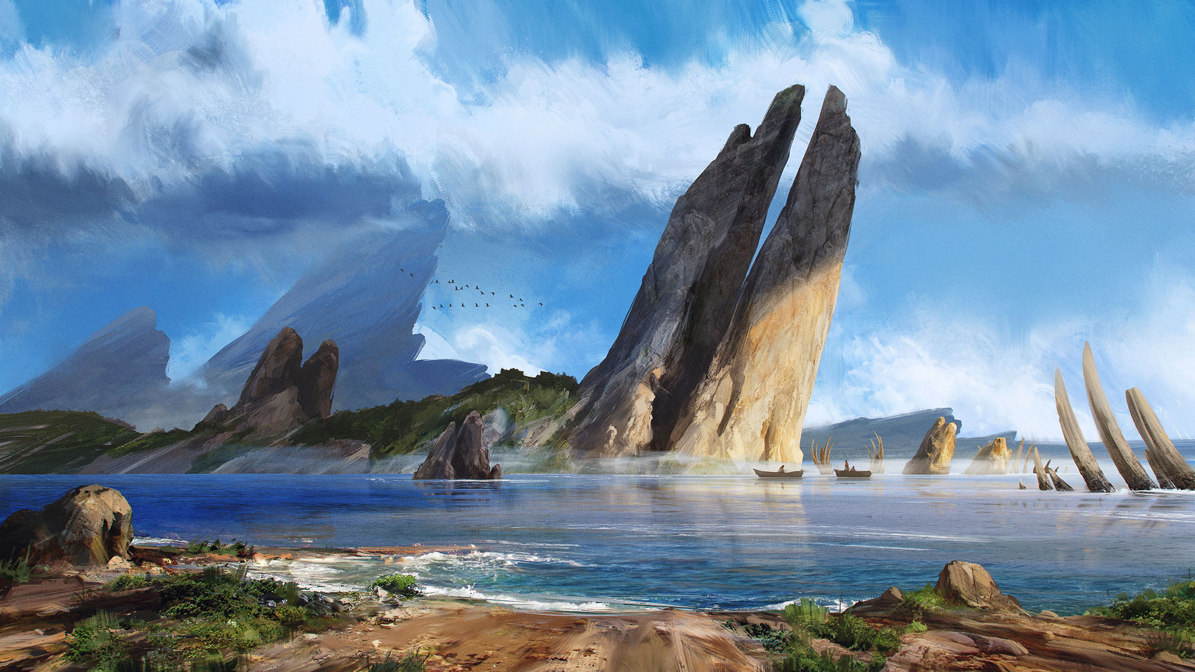 129421 Screensavers and Wallpapers Art for phone. Download Art, Sea, Boats, Rocks, Coast pictures for free