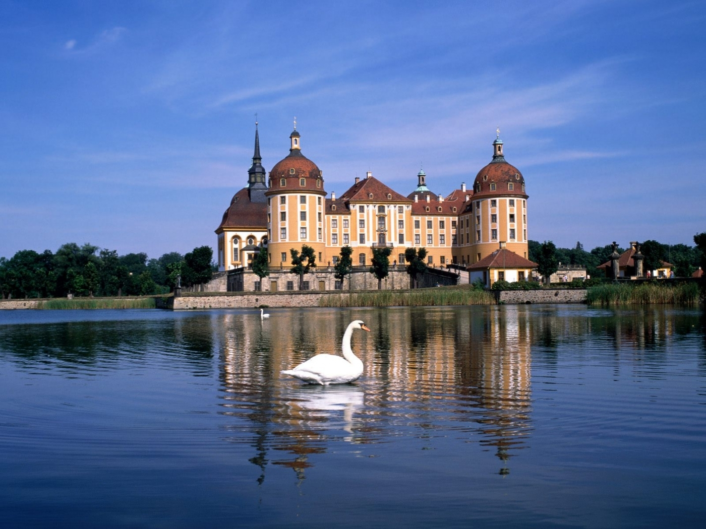 40253 download wallpaper Landscape, Castles, Swans screensavers and pictures for free