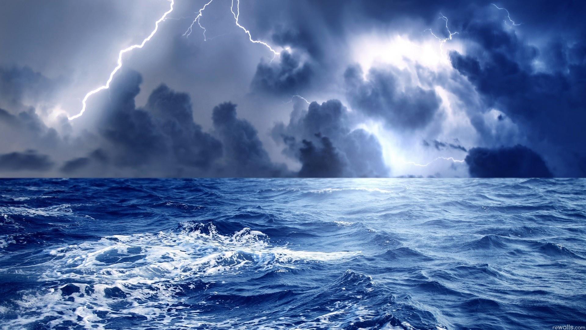 20722 скачать обои Молнии, Пейзаж, Море, Облака - заставки и картинки бесплатно