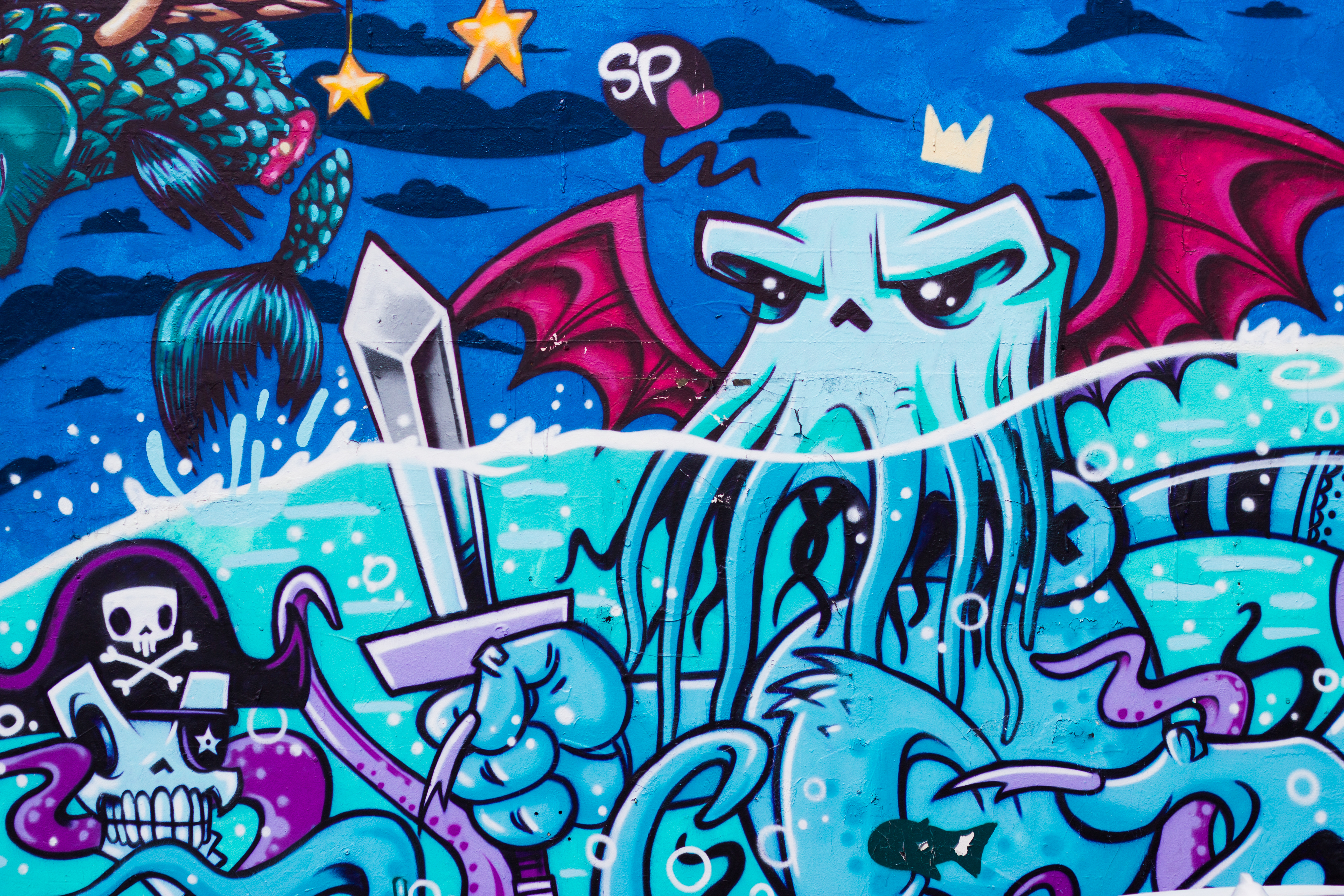 80287 download wallpaper Art, Graffiti, Octopus, Street Art screensavers and pictures for free