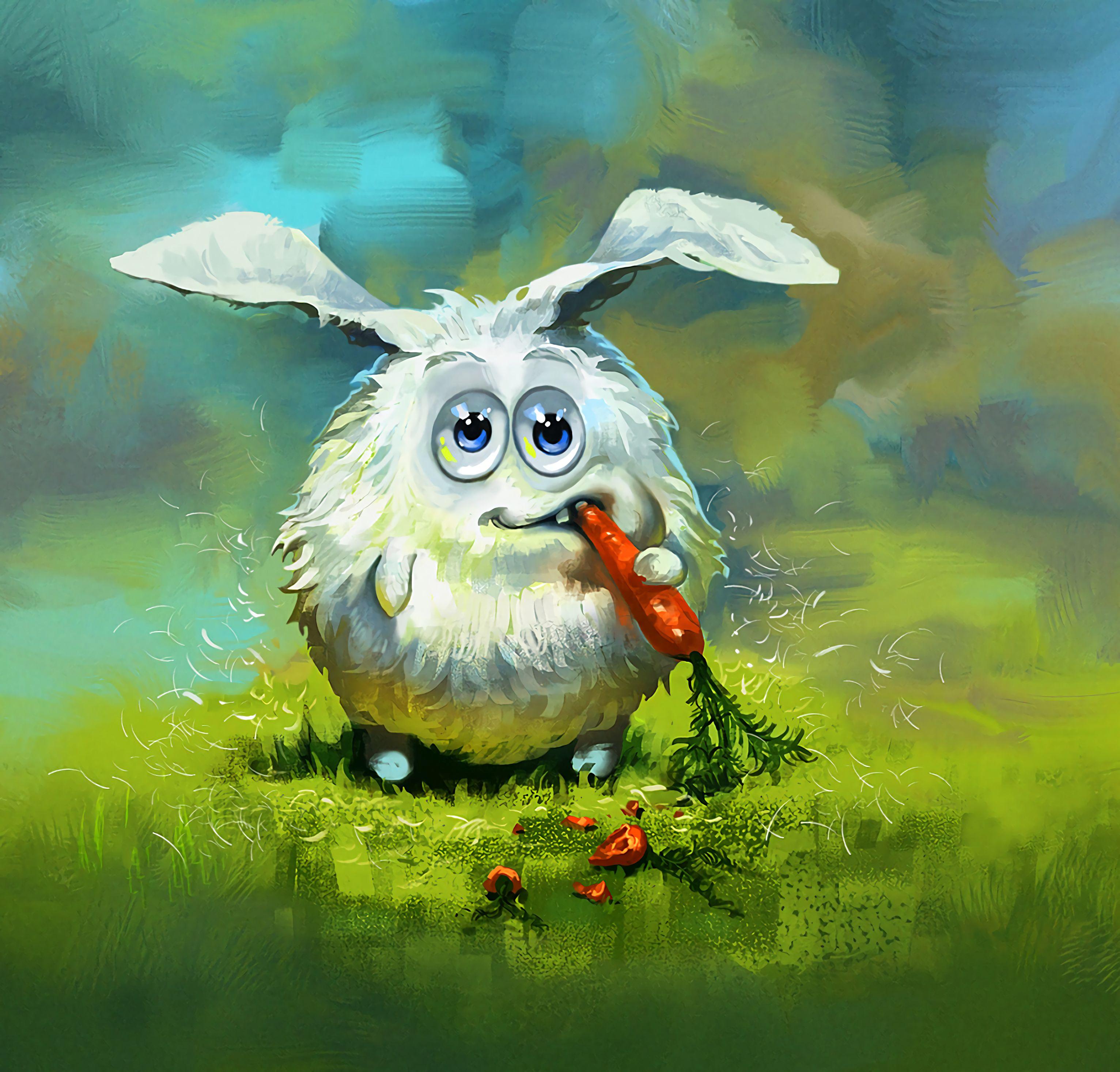 92175 Hintergrundbild herunterladen Kunst, Kaninchen, Cool, Hase, Karotte - Bildschirmschoner und Bilder kostenlos