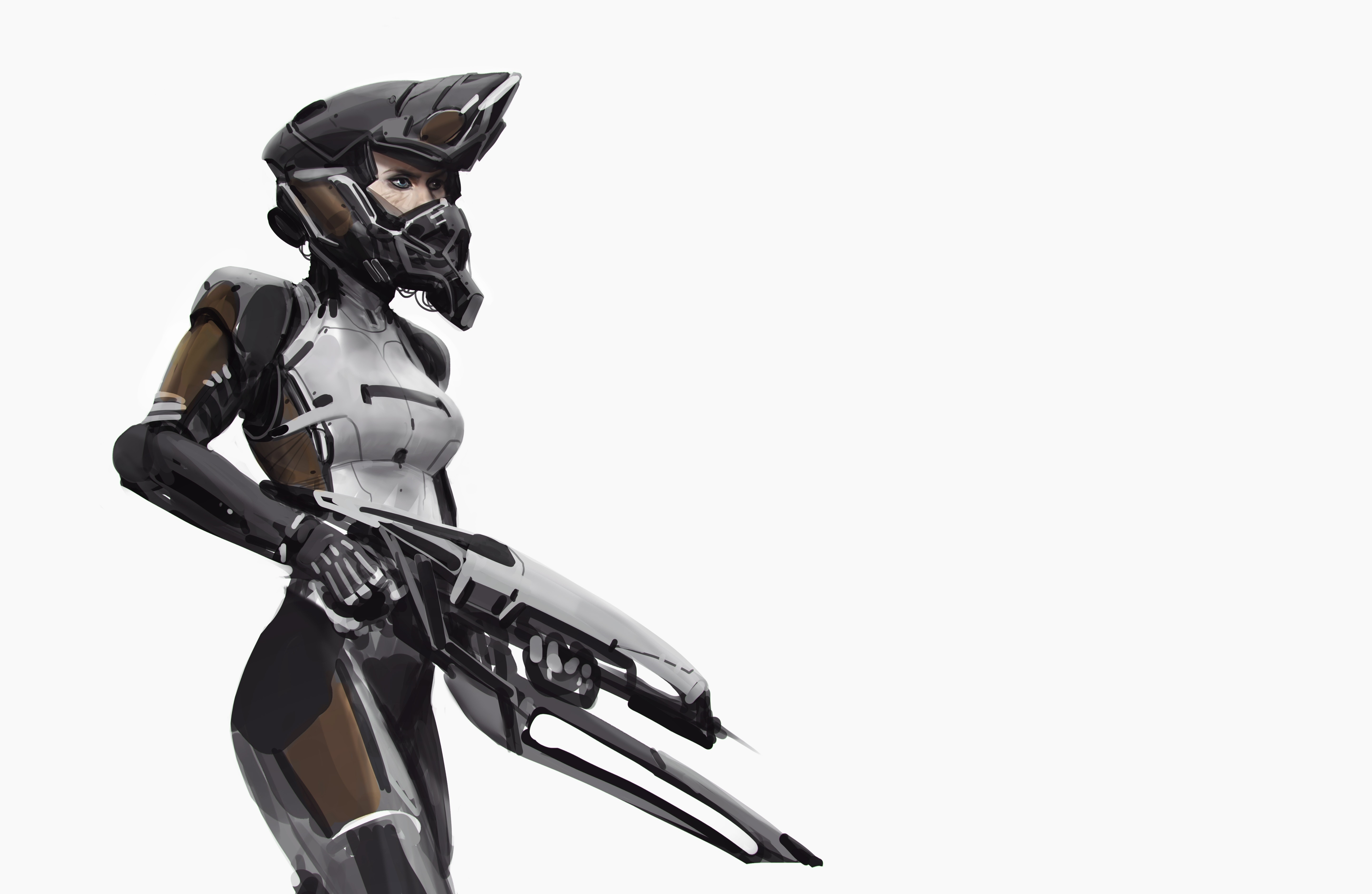 92256 download wallpaper Weapon, Miscellanea, Miscellaneous, Girl, Helmet, Armor, Armour screensavers and pictures for free
