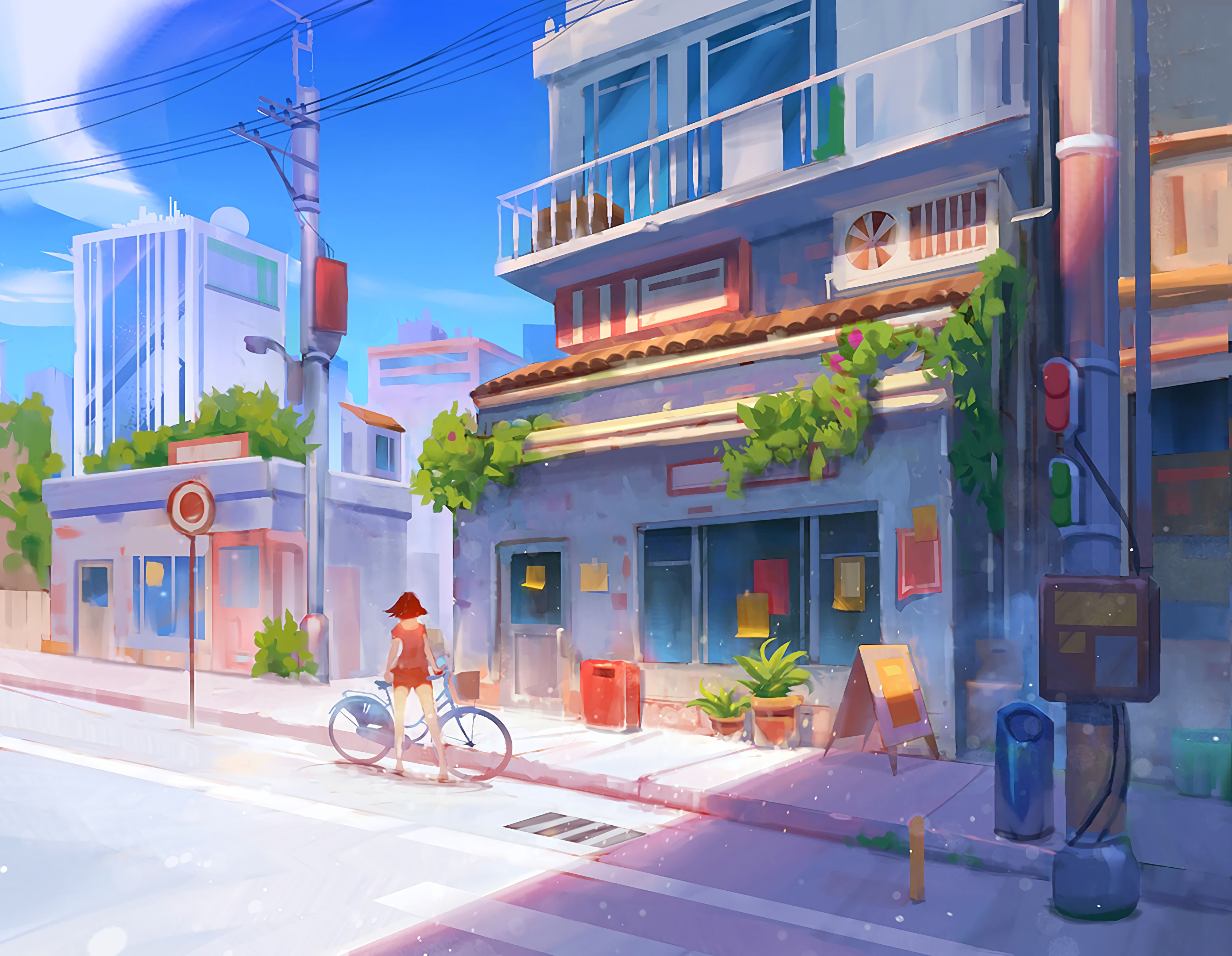 155678 Screensavers and Wallpapers Summer for phone. Download Art, Summer, Building, Girl, Street, Bicycle pictures for free