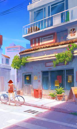 155678壁紙のダウンロード自転車, アート, 女の子, 通り, 建物, 夏-スクリーンセーバーと写真を無料で