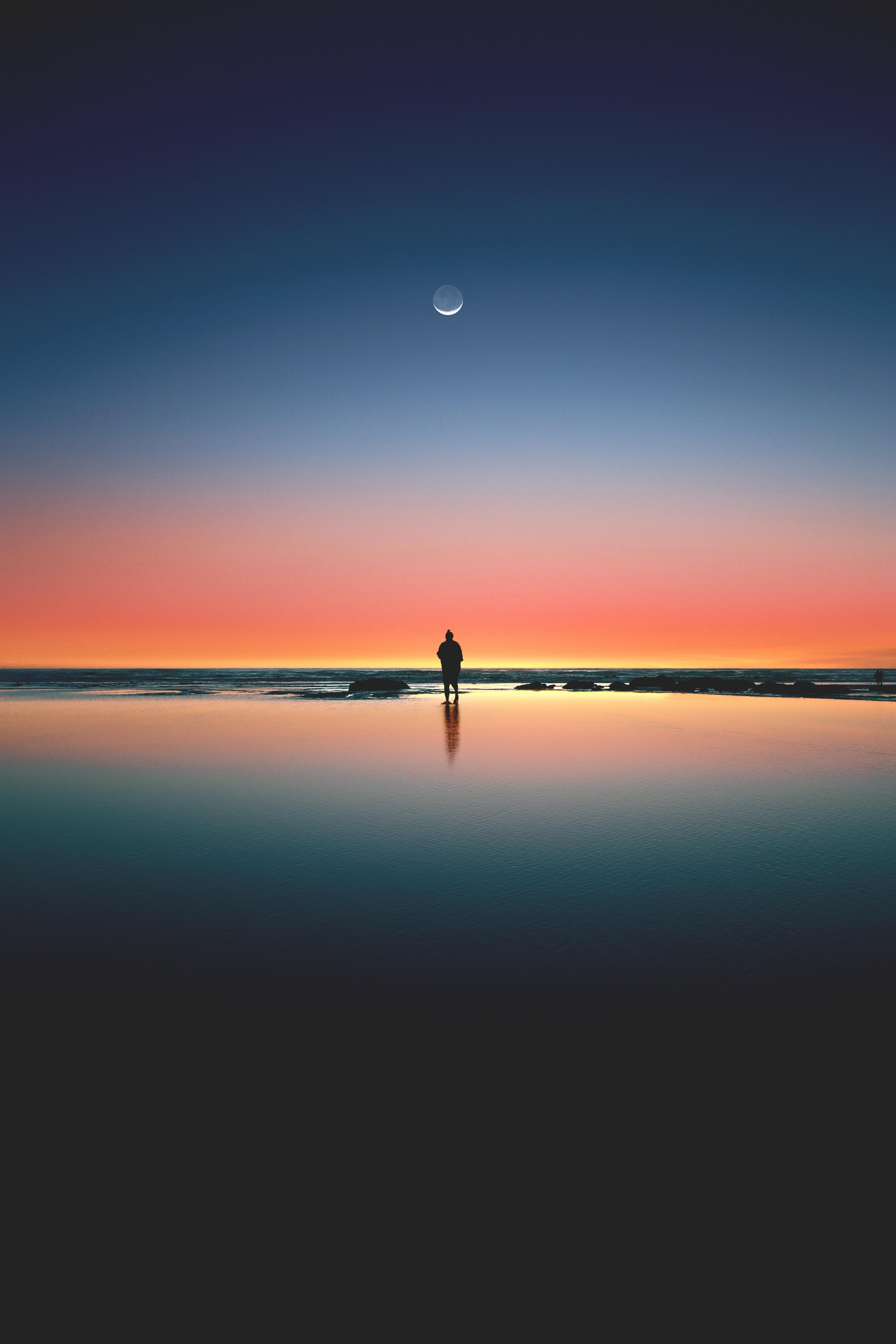 111060 Hintergrundbild herunterladen Natur, Sunset, Usa, Horizont, Silhouette, Ozean, Einsamkeit, Kalaloh, Kalalokh - Bildschirmschoner und Bilder kostenlos