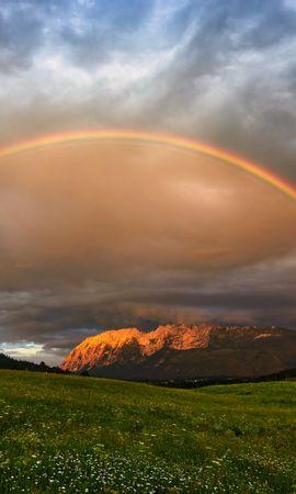 123171 télécharger le fond d'écran Arc En Ciel, Pré, Nature, Montagnes, Paysage - économiseurs d'écran et images gratuitement