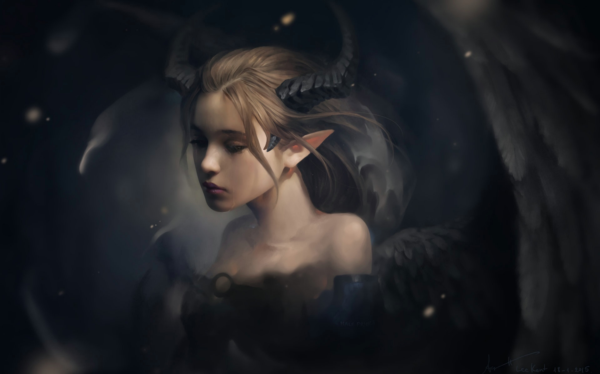 141018 download wallpaper Elf, Horns, Fantasy, Art screensavers and pictures for free