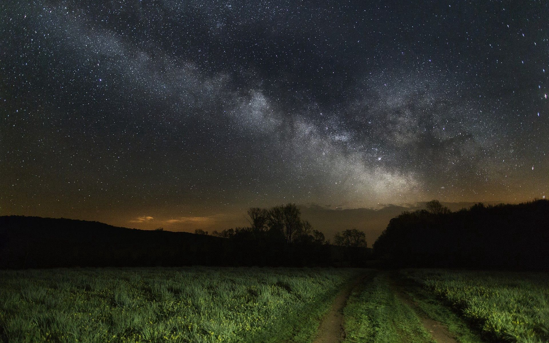 Download mobile wallpaper Nature, Grass, Sky, Stars, Night for free.