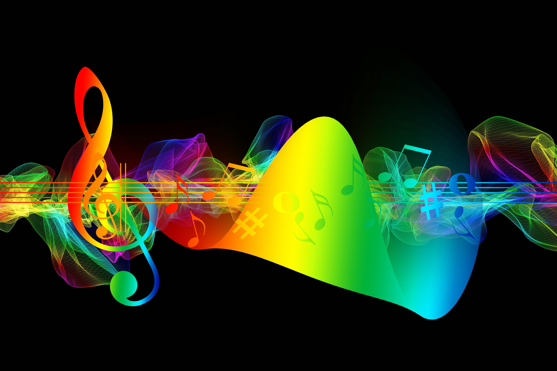147642 Hintergrundbild herunterladen Musik, Regenbogen, Mehrfarbig, Motley, Schillernden, Anmerkungen, Violinschlüssel, Dreifacher Schlüssel - Bildschirmschoner und Bilder kostenlos