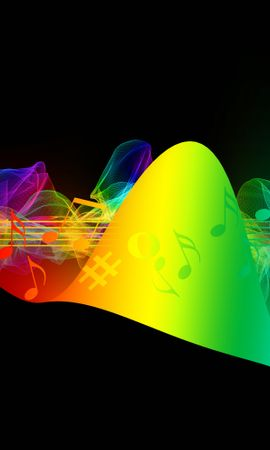 147642 Screensavers and Wallpapers Music for phone. Download Music, Treble Clef, Notes, Multicolored, Motley, Rainbow, Iridescent pictures for free