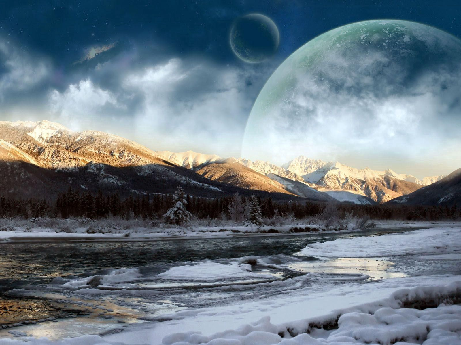 154807 Screensavers and Wallpapers Fiction for phone. Download Winter, Fantasy, Sky, Planets, Snow, Forest, Shadow, Fiction, That's Incredible pictures for free