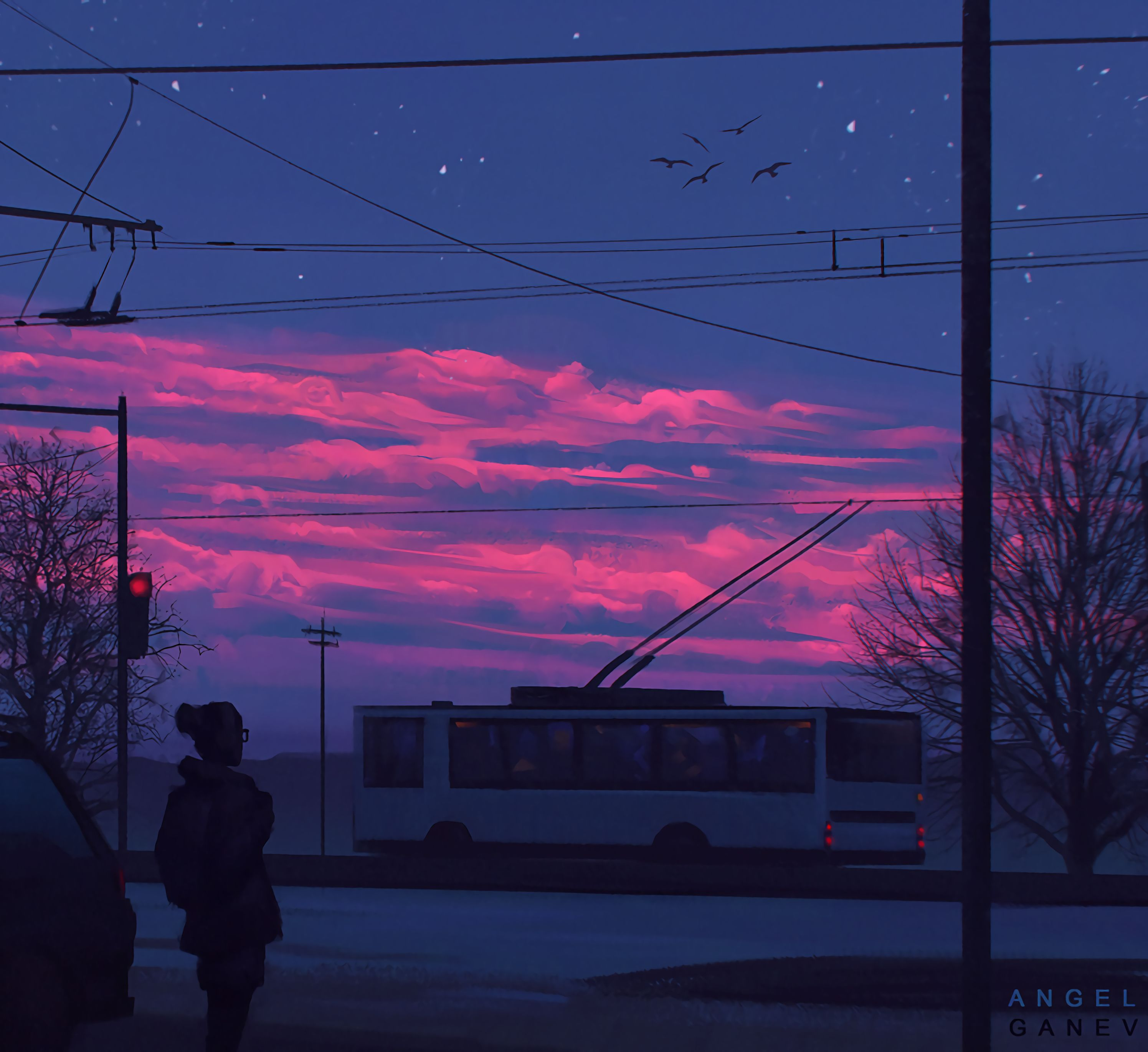 91326 Screensavers and Wallpapers Street for phone. Download Transport, Sunset, Art, Clouds, City, Silhouette, Street pictures for free